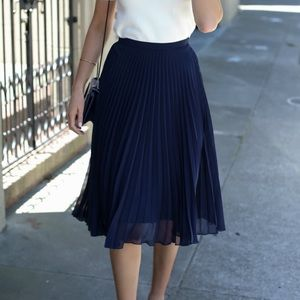 Topshop Navy Blue Accordion Pleated Midi Skirt